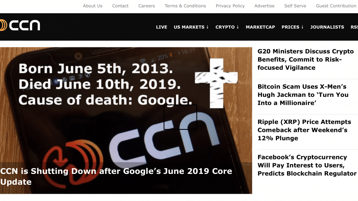 CCN.com, unul dintre cele mai mari site-uri de stiri crypto, s-a inchis