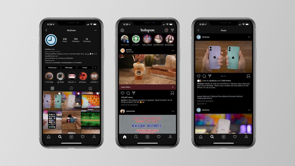 Instagram a primit update pentru Dark Mode in iOS13