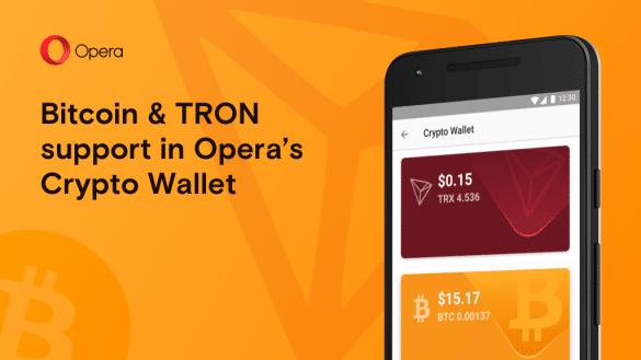 Browser-ul Opera permite acum efectuarea de plati Bitcoin si Tron